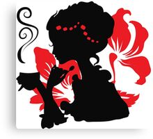 Silhouette of a Young female holding hot coffee Canvas Print