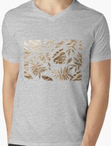 Gold Leaves Pattern Golden tropical on Black Mens V-Neck T-Shirt