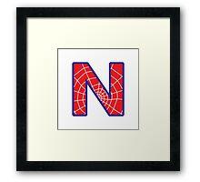 N letter in Spider-Man style Framed Print