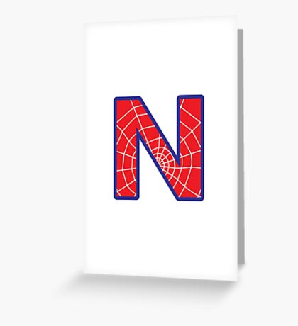 N letter in Spider-Man style Greeting Card