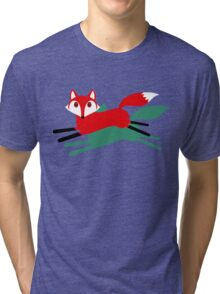 RUNNING FOX AND SHADOW Tri-blend T-Shirt