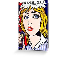 Pop art does mobile phone stalking troll Greeting Card