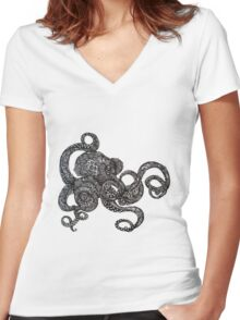 Barnacle Octopus Women's Fitted V-Neck T-Shirt