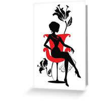 Graphic silhouette of a woman Greeting Card