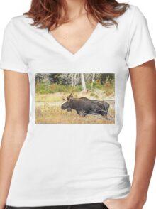 Big Bull Moose, Algonquin Park Women's Fitted V-Neck T-Shirt