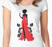Silhouette of woman with wineglass Women's Fitted Scoop T-Shirt