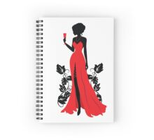 Silhouette of woman with wineglass Spiral Notebook