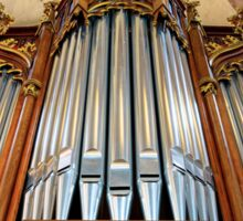 Beautiful organ in old catholic church Sainte-Foy in Selestat, France Sticker