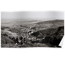 Little french village Andlau view from the top of the hill, retro vintage style Poster