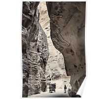 Jordan. Petra. Gorge in Black & White. Horse Carriage. Poster