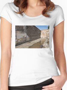Reflecting on Ancient Pompeii - Quiet Sunny Courtyard Women's Fitted Scoop T-Shirt