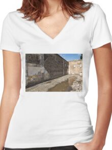 Reflecting on Ancient Pompeii - Quiet Sunny Courtyard Women's Fitted V-Neck T-Shirt