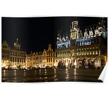 Brussels - the Magnificent Grand Place at Night Poster