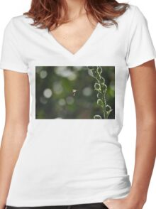 Wasp captured while flying around flowers Women's Fitted V-Neck T-Shirt