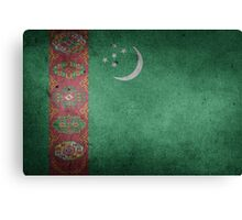Turkmenistan Flag Grunge Canvas Print