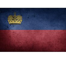 Liechtenstein Flag Grunge Photographic Print