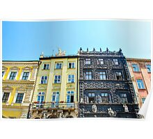 Colorful old houses in the Lviv city, Ukraine Poster