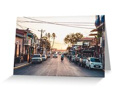 Sun sets in the village Greeting Card