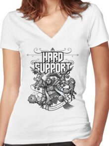 Hard Support Omniknight Women's Fitted V-Neck T-Shirt