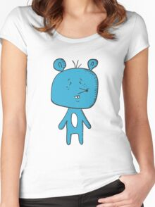 Cartoon blue mouse Women's Fitted Scoop T-Shirt