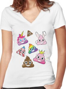Silly Whacky Fun Poop Emoji Land Collection Women's Fitted V-Neck T-Shirt