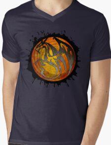 Orange grunge paint splatter dragon Mens V-Neck T-Shirt