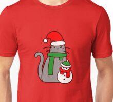 Christmas Cat and Snowman  Unisex T-Shirt