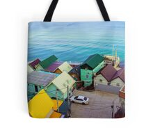 Many color houses on the coast of the sea Tote Bag
