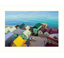 Many color houses on the coast of the sea Art Print