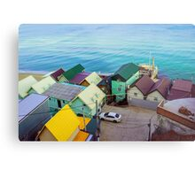 Many color houses on the coast of the sea Metal Print