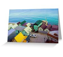 Many color houses on the coast of the sea Greeting Card