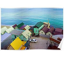Many color houses on the coast of the sea Poster