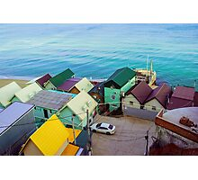 Many color houses on the coast of the sea Photographic Print