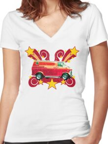 Retro 70s Van (vintage distressed) Women's Fitted V-Neck T-Shirt