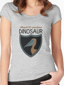 Honest-To-Goodness Dinosaur: Pelican (on light background) Women's Fitted Scoop T-Shirt