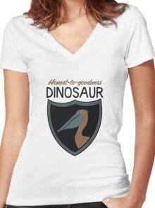 Honest-To-Goodness Dinosaur: Pelican (on light background) Women's Fitted V-Neck T-Shirt