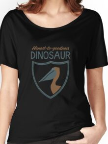 Honest-To-Goodness Dinosaur: Pelican (on dark background) Women's Relaxed Fit T-Shirt