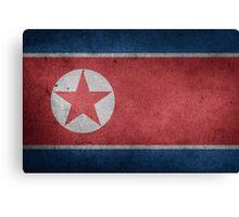 North Korea Flag Grunge Canvas Print