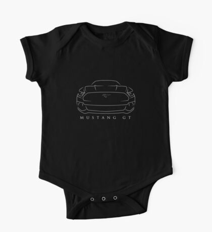 Ford Mustang GT - front Stencil, white One Piece - Short Sleeve