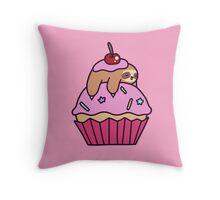 Cupcake Sloth Throw Pillow