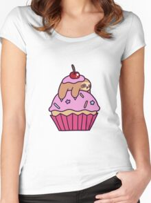 Cupcake Sloth Women's Fitted Scoop T-Shirt