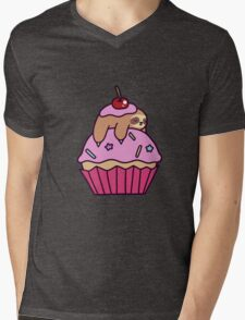 Cupcake Sloth Mens V-Neck T-Shirt
