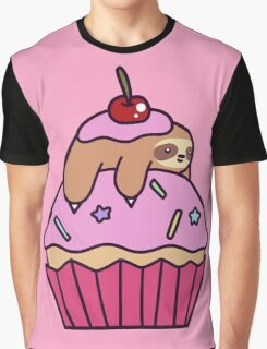 Cupcake Sloth Graphic T-Shirt