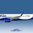 Illustration of IndiGo Airbus A320 NEO VT-ITD - Blue Version by © Steve H Clark
