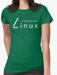 Linux - It all starts here Womens Fitted T-Shirt