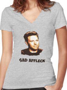 Sad Affleck - Batman vs. Superman Women's Fitted V-Neck T-Shirt