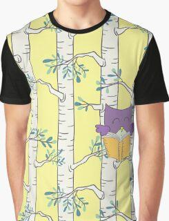 Purple Owl Reading Graphic T-Shirt