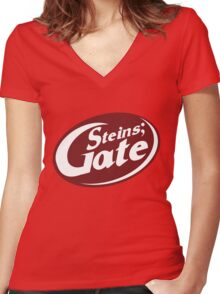 Steins;Gate - an intellectual beverage  Women's Fitted V-Neck T-Shirt