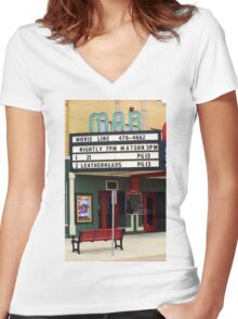 Route 66 - Mar Theater Marquee Women's Fitted V-Neck T-Shirt
