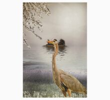 Great Blue Heron at Dusk Kids Tee
